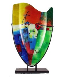 Vaas glas multicolor in standaard