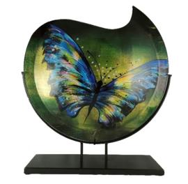 Vaas glas maanvorm Butterfly 48cmH