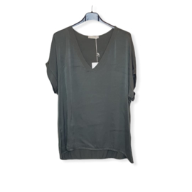 T-Shirt legergroen Size V-Hals