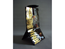 Kandelaar zwart/goud 14x13x24cm