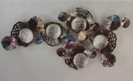 Wanddecoratie metaal cirkels 109x56cmH