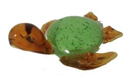 Schildpad glas groen/oker 10x10x5cmH
