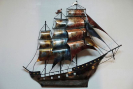 Wanddecoratie metaal 3-master 100x94cmH