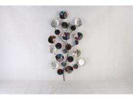 Wanddecoratie metaal tak met cirkels 60x117cmH