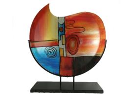 """Vaas glas maanvorm gekleurd """"Fusion"""" in standaard"""