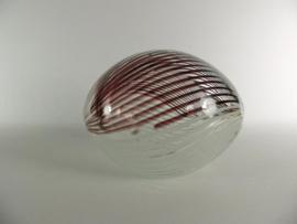 Ei glas zwart/wit gestreept 17cmLx13cmH