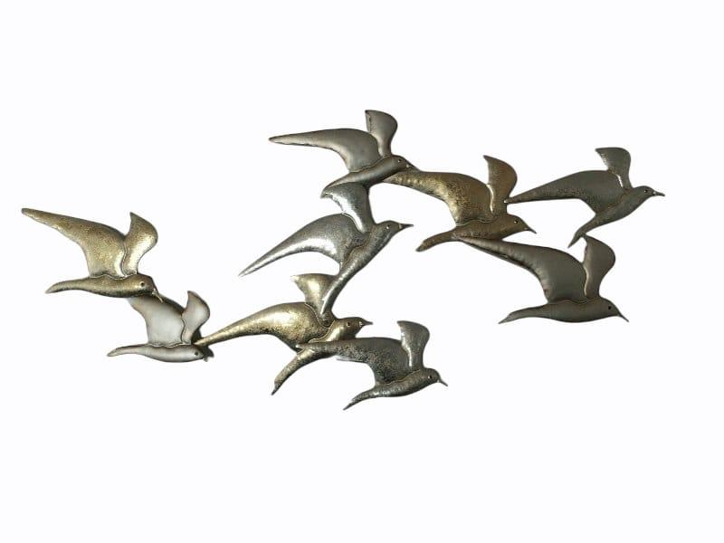 Wanddecoratie metaal vogels vliegend zilverkleur 118x53cmH