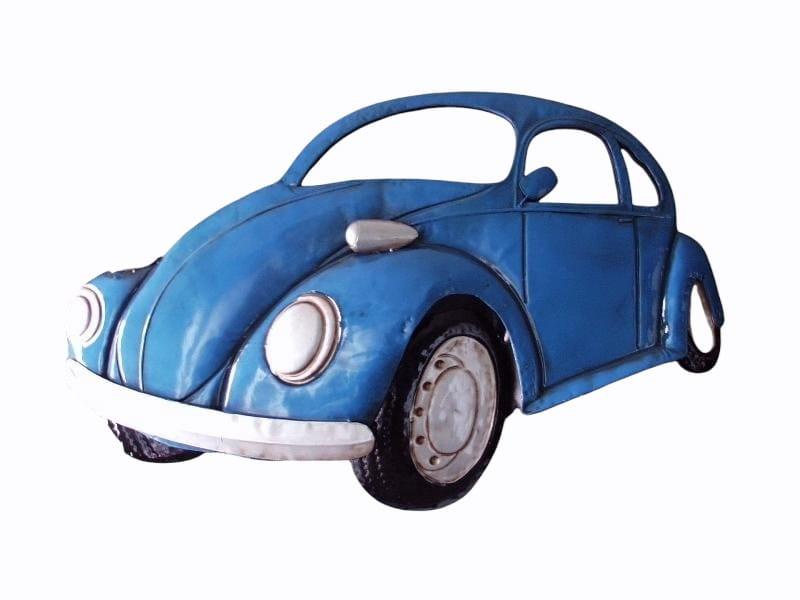 Wanddecoratie metaal auto blauw/spiegels 80x53cmH