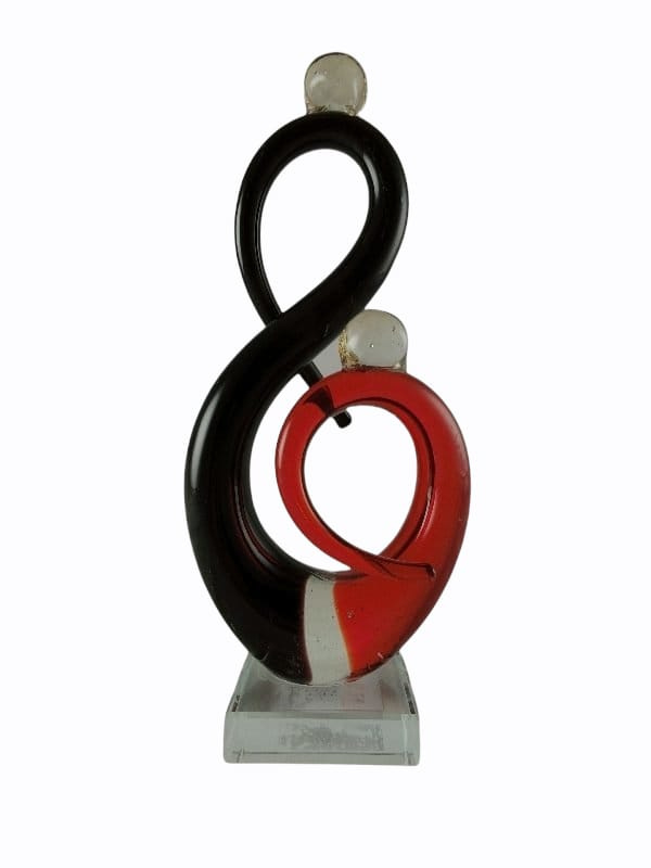 Glassculptuur stel modern zwart/rood