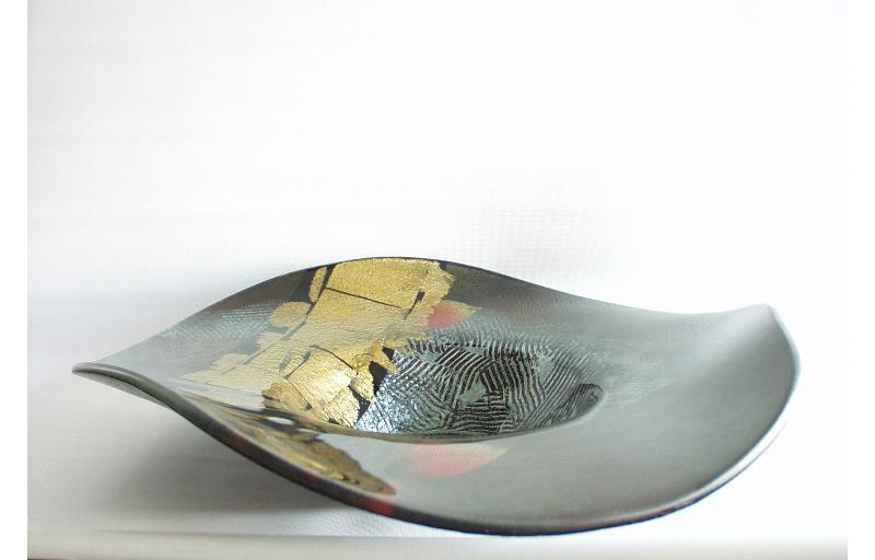 Schaal glas hoed zwart/goud 46x46x10cmH