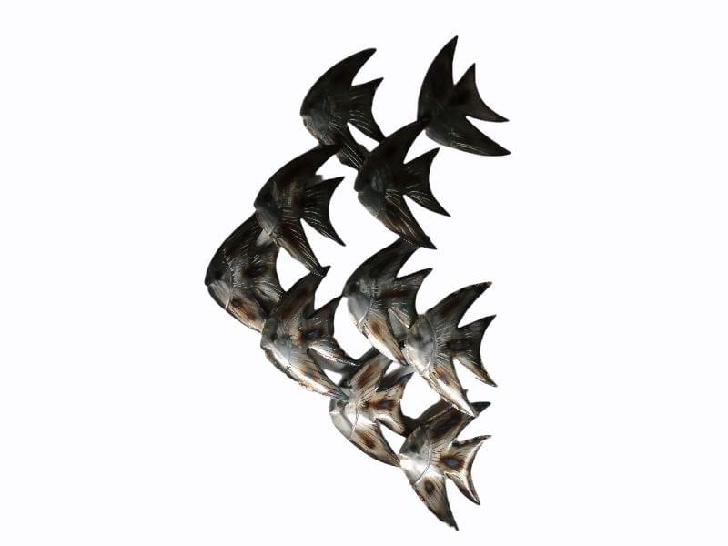 Wanddecoratie metaal maanvissen 58x87cmH