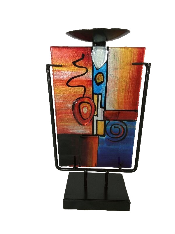 "Kandelaar glas gekleurd ""Fusion"" 14x13x24cmH"