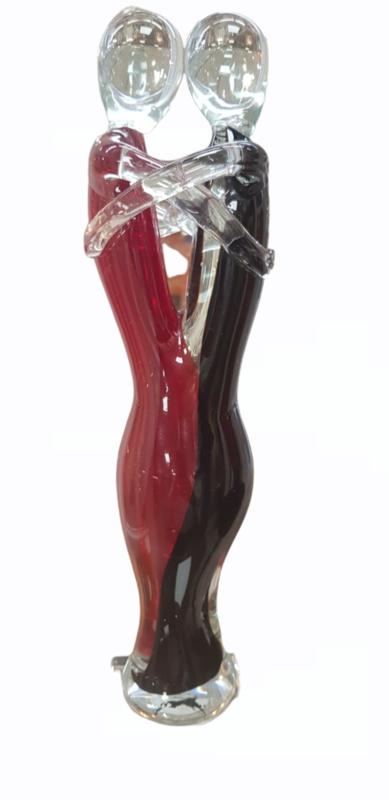 Glassculptuur stel verliefd modern glas zwart/rood 35cmH