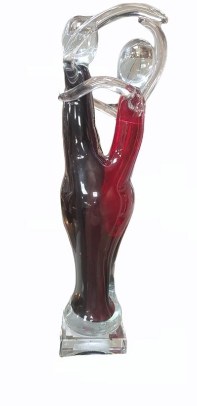 Glassculptuur dansend paar rood/zwart