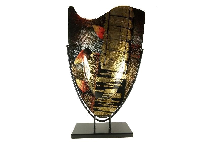 Vaas glas zwart/goud in standaard 37×59.5cmH