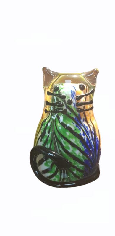 Kat glas zittend gekleurd 12cmH