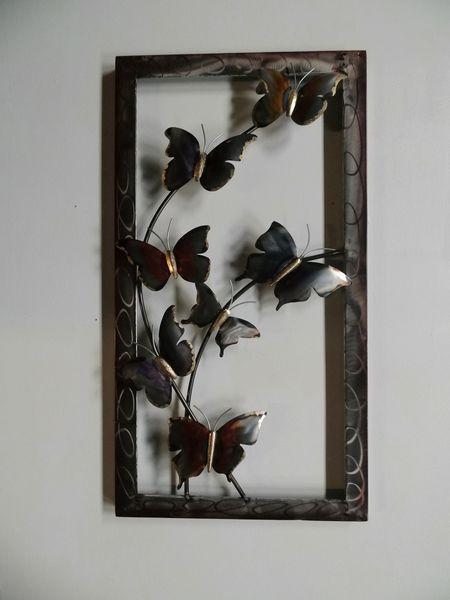 Wanddecoratie metaal vlinders omlijst 44x81cmH