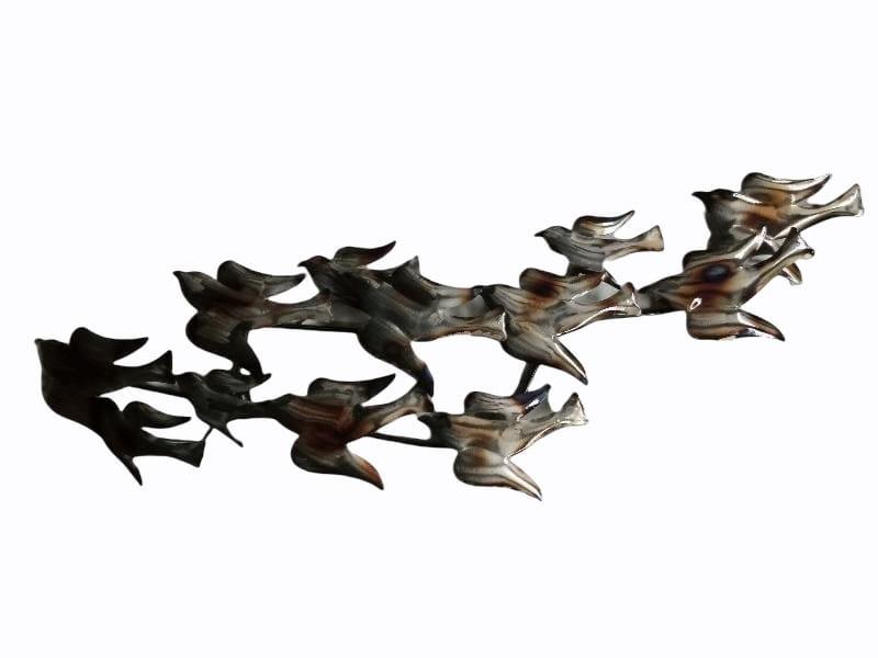 Wanddecoratie metaal vogels 103cmLx38cmH
