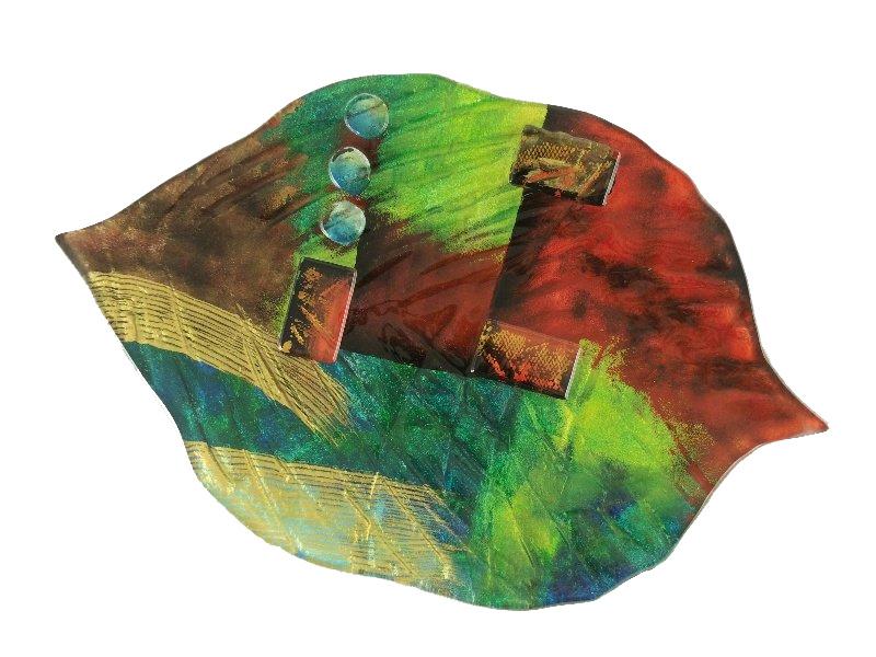 Schaal glas bladvorm Artwork 35cmBx57cmL
