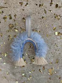 Macramé rainbow - baby blue fluffy