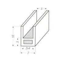 Loodprofiel U10-staal / 2 meter