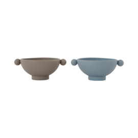 OYOY -TINY INKA BOWL SET VAN 2 - DUSTY BLUE / CLAY