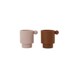 OYOY -TINY INKA CUP SET VAN 2 - CARAMEL / ROSE