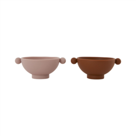 OYOY -TINY INKA BOWL SET VAN 2 - CARAMEL / ROSE