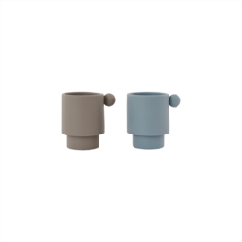 OYOY -TINY INKA CUP SET VAN 2 - DUSTY BLUE / CLAY
