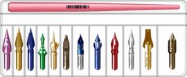 Set met 12 Nibs +  Penhouder + GRATIS A4 Sample Archie's Kalligrafeerpapier