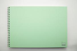 A3 Teken & Schetsboek 70 Vel 120g/m² Blanco Wit  Papier. Omslag Mint Groen