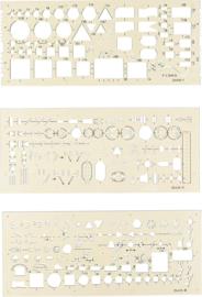 Set van  3 Electro Sjablonen