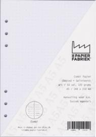 Aanvulling A5 Notitiepapier voor o.a. Succes, Filofax Planners 100 Pag. 120g/m² Dotted - Gelinieerd Wit Combi Papier