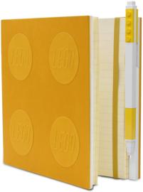LEGO® 2.0 Locking Notebook kleur Geel  met een LEGO® Gel Pen