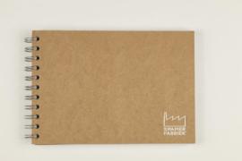 A5 Tekenblok / Schetsboek 70 Vel 120g/m² Blanco Wit Papier. Omslag Kraft Bruin