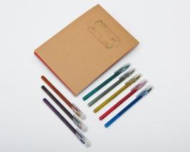 Handlettering Oefenblok A5 Kerst Editie + 8 stuks Pentel Hybrid Dual Metallic Gel Pennen.