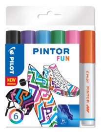 """PILOT Pintor Pigmentmarkers 4.5 mm/ Medium  Tip  Set van 6 """"Fun Mix"""""""