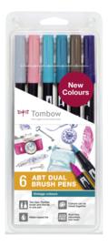 Tombow Set van 6 ABT Dual Brush Pennen Vintage Kleuren