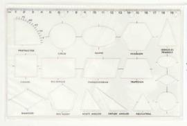 Geometrische  Sjabloon  met 17 Vormen + Liniaal