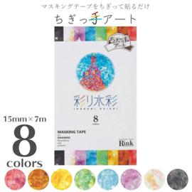 Rink Japanese Washi Tape  Crayon Design  Set van  8