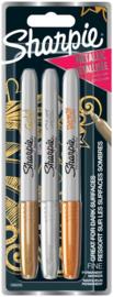 """Sharpie Markers """"Metallic Fine"""" Set van 3  – Goud / Zilver  /Bronze"""