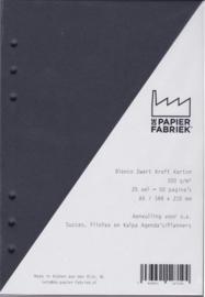 Aanvulling A5 geschikt voor o.a. Filofax, 6-Rings Losbladige Planners 25 Vel, 300g/m² Blanco Zwart Karton