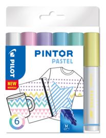 "PILOT Pintor Pigmentmarkers 4.5 mm / Medium Tip  Set van 6 ""Pastel  Mix"""