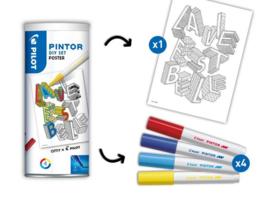 Pilot Pintor - Set DIY Poster - Inclusief 3 Markers  - Fine Tip