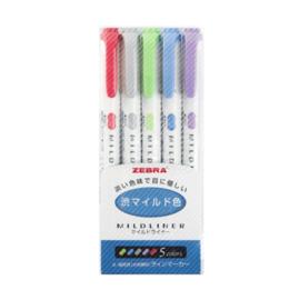 Zebra Mildliner Double Sided Tekstmarker - Fine & Bold - Cool & Warm Colors - Set van 5