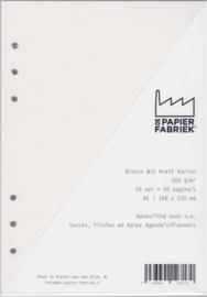 Aanvulling A5 geschikt voor o.a. Filofax, 6-Rings Losbladige Planners 25 Vel, 300g/m² Blanco Wit  Karton
