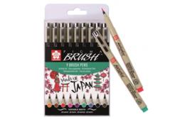 Sakura Pigma Brushpennen  Set  met  9 kleuren