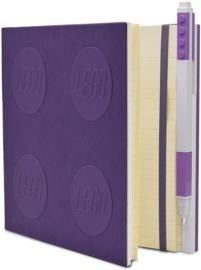 LEGO® 2.0 Locking Notebook kleur Lavendel met een  LEGO® Gel  Pen