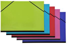 Tekenmappen  B4 = 28 x 38cm Set van 5 | Groen, Blauw, Rood, Roze en Paars