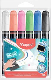 Krijtmarkers Set van 6 stuks in geassorteerde kleuren + GRATIS Zipperbag